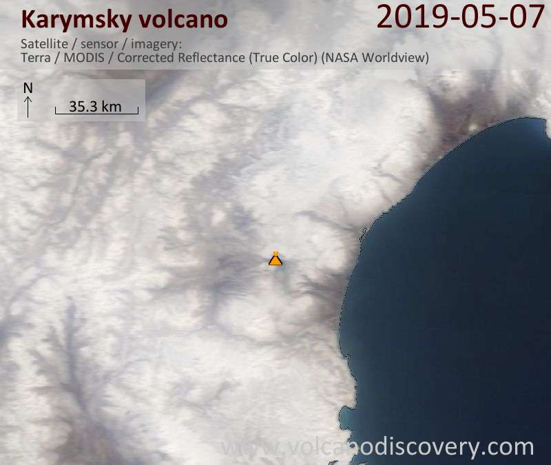 Satellite image of Karymsky volcano on  7 May 2019