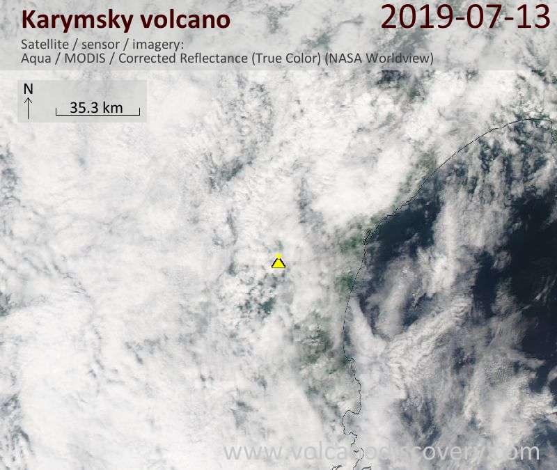 Satellite image of Karymsky volcano on 13 Jul 2019