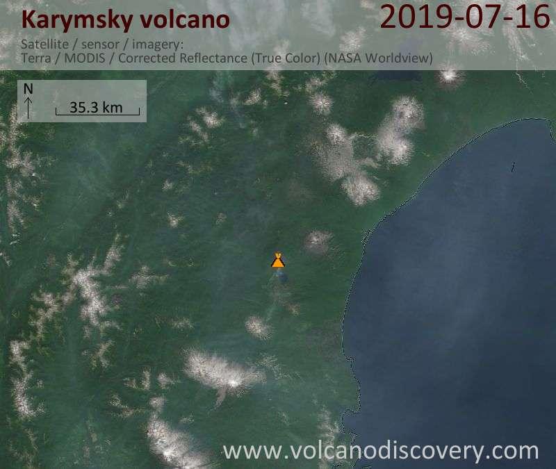 Satellite image of Karymsky volcano on 16 Jul 2019