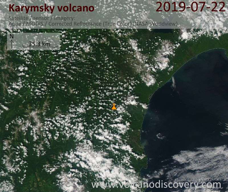 Satellite image of Karymsky volcano on 22 Jul 2019