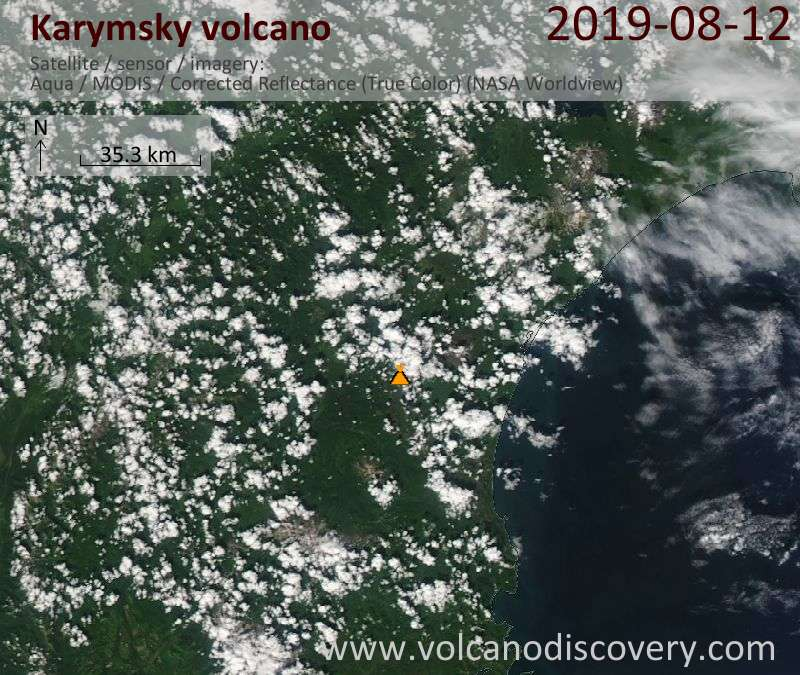 Satellite image of Karymsky volcano on 12 Aug 2019