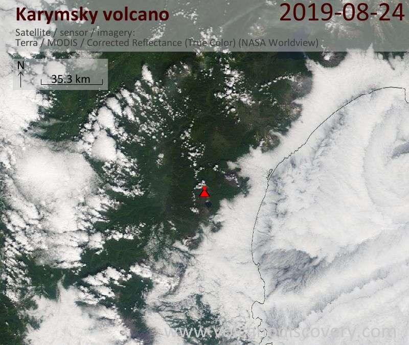 Satellite image of Karymsky volcano on 24 Aug 2019