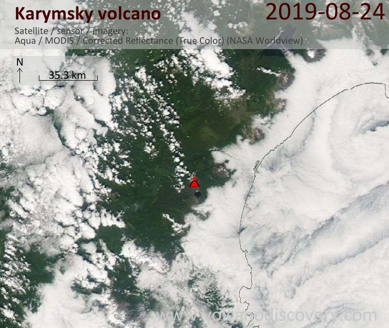 Satellite image of Karymsky volcano on 25 Aug 2019