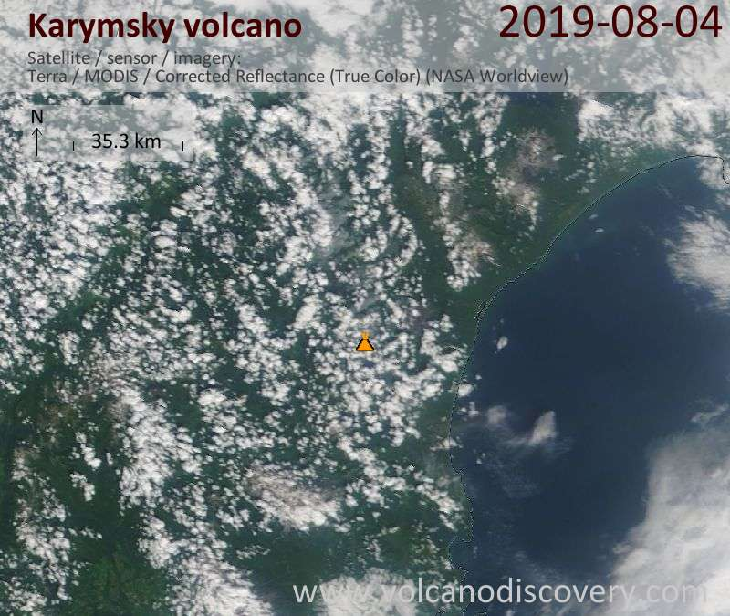 Satellite image of Karymsky volcano on  4 Aug 2019