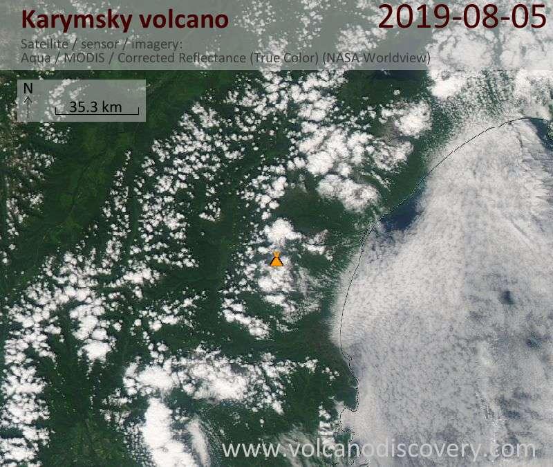 Satellite image of Karymsky volcano on  5 Aug 2019