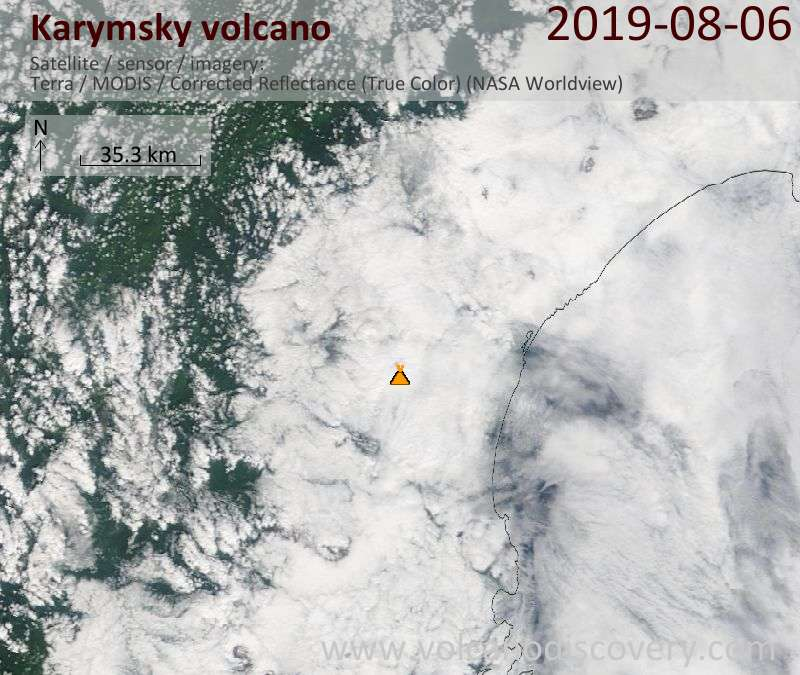 Satellite image of Karymsky volcano on  6 Aug 2019