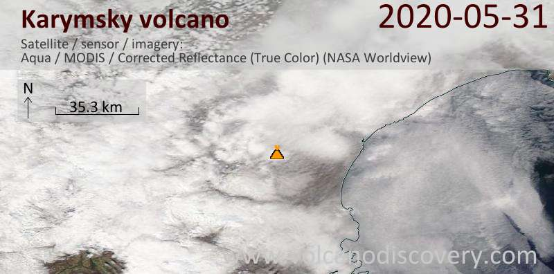 Satellite image of Karymsky volcano on 31 May 2020