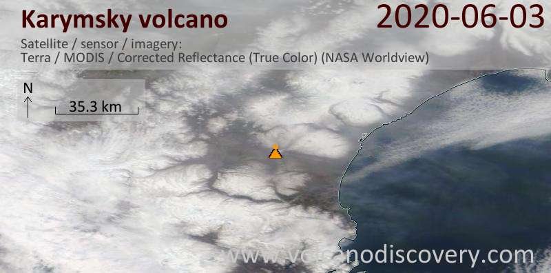 Satellite image of Karymsky volcano on  3 Jun 2020