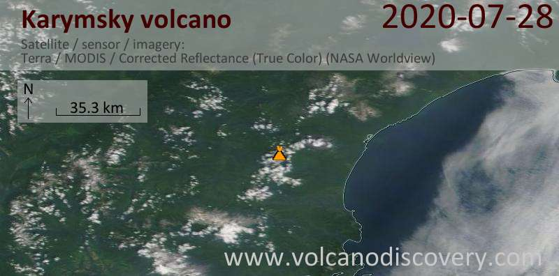 Satellite image of Karymsky volcano on 28 Jul 2020