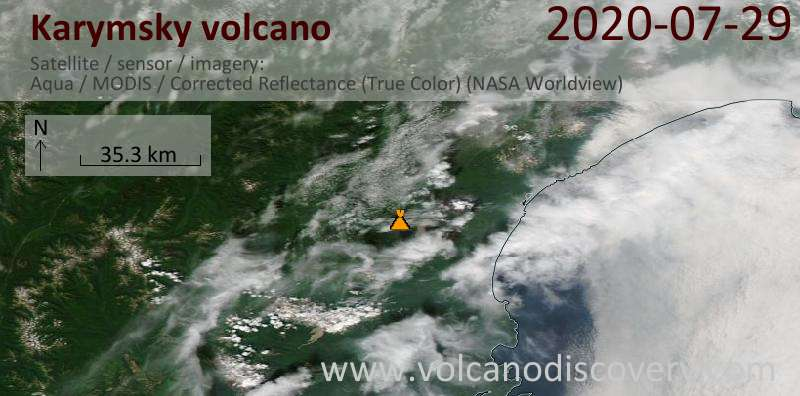 Satellite image of Karymsky volcano on 29 Jul 2020