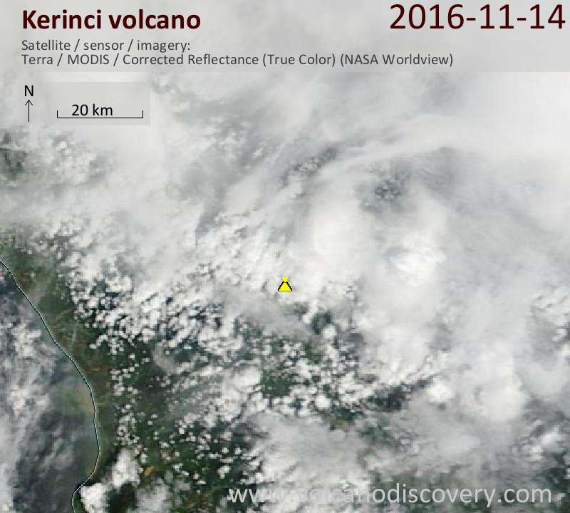Satellite image of Kerinci volcano on 14 Nov 2016