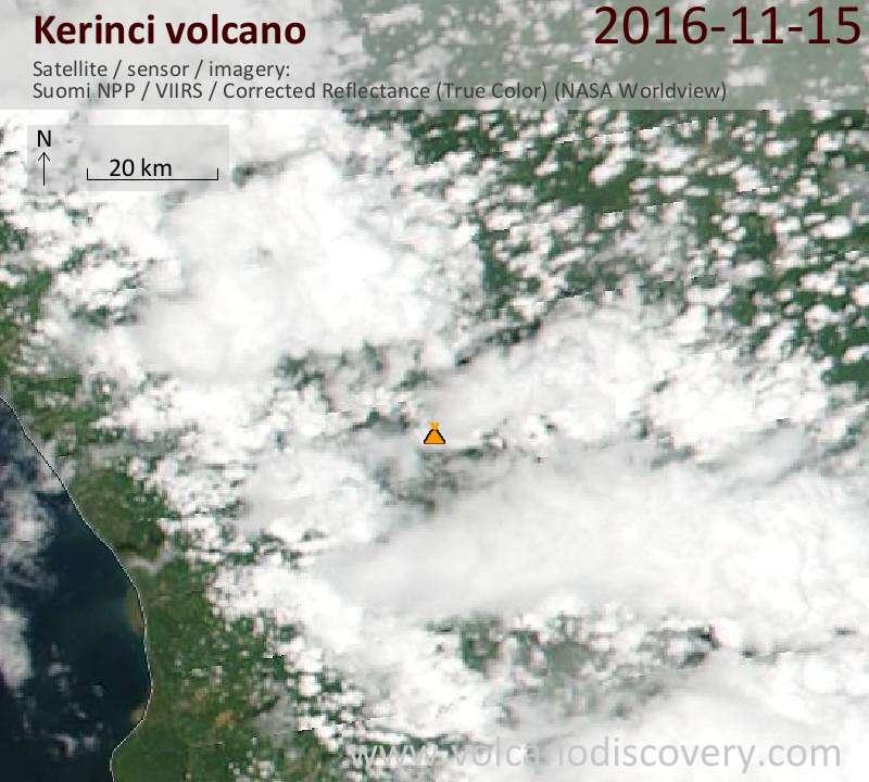 Satellite image of Kerinci volcano on 15 Nov 2016