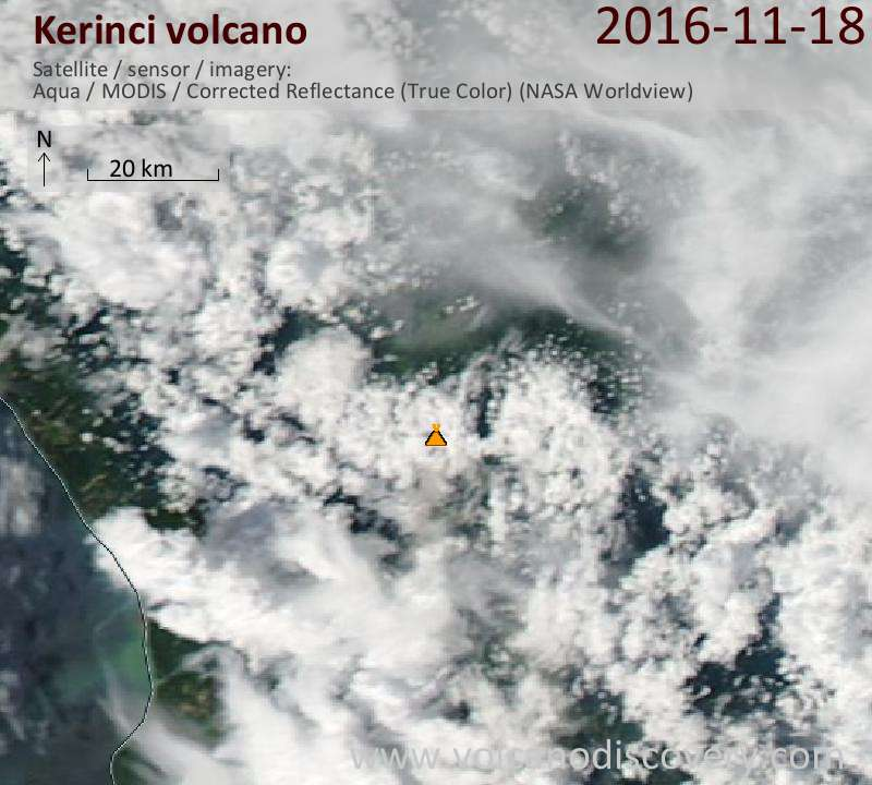 Satellite image of Kerinci volcano on 19 Nov 2016