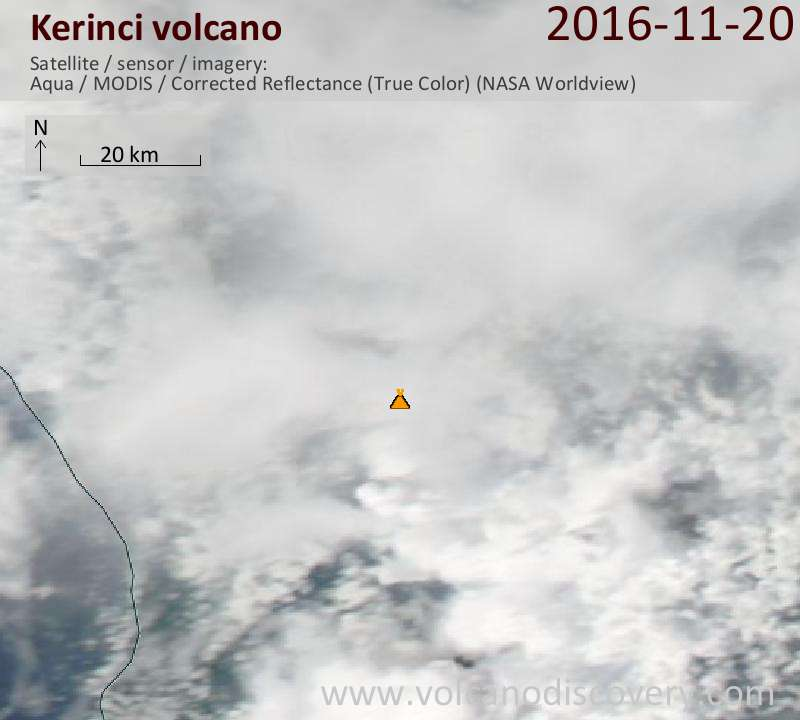 Satellite image of Kerinci volcano on 21 Nov 2016