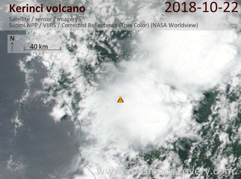 Satellite image of Kerinci volcano on 22 Oct 2018