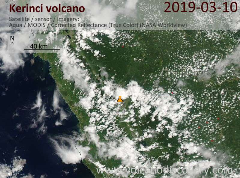 Satellite image of Kerinci volcano on 10 Mar 2019
