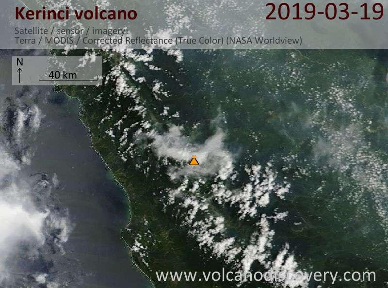 Satellite image of Kerinci volcano on 19 Mar 2019