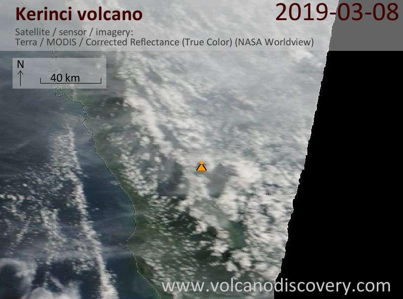Satellite image of Kerinci volcano on  8 Mar 2019