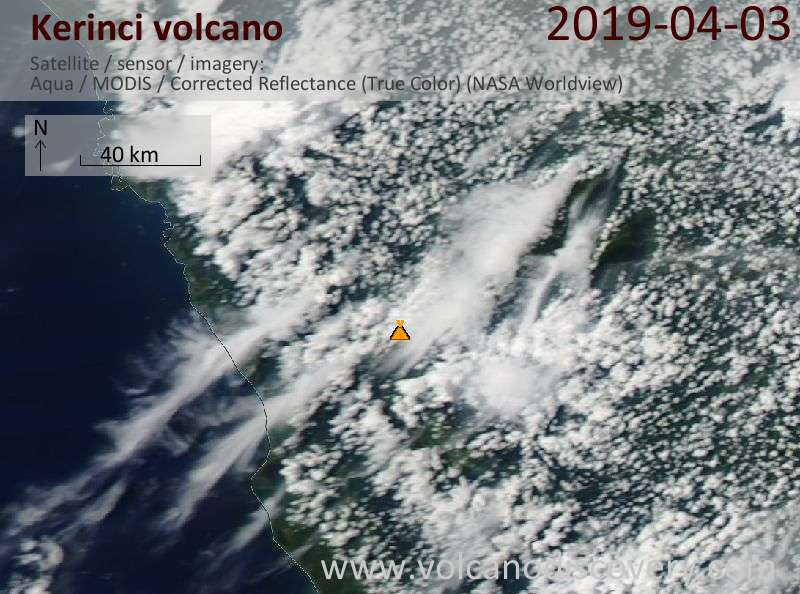 Satellite image of Kerinci volcano on  3 Apr 2019