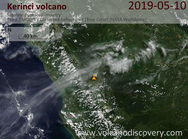 Satellite image of Kerinci volcano on 10 May 2019