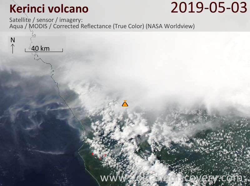 Satellite image of Kerinci volcano on  3 May 2019