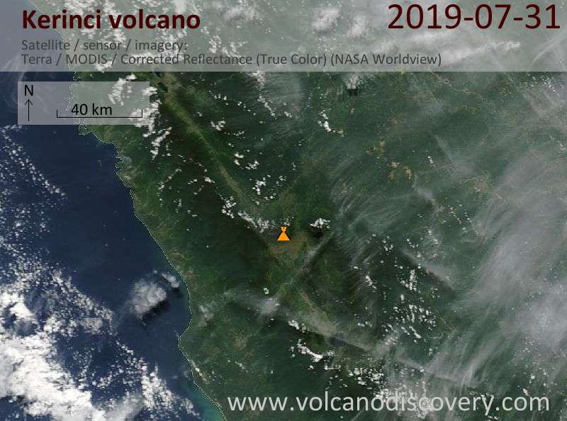 Satellite image of Kerinci volcano on 31 Jul 2019