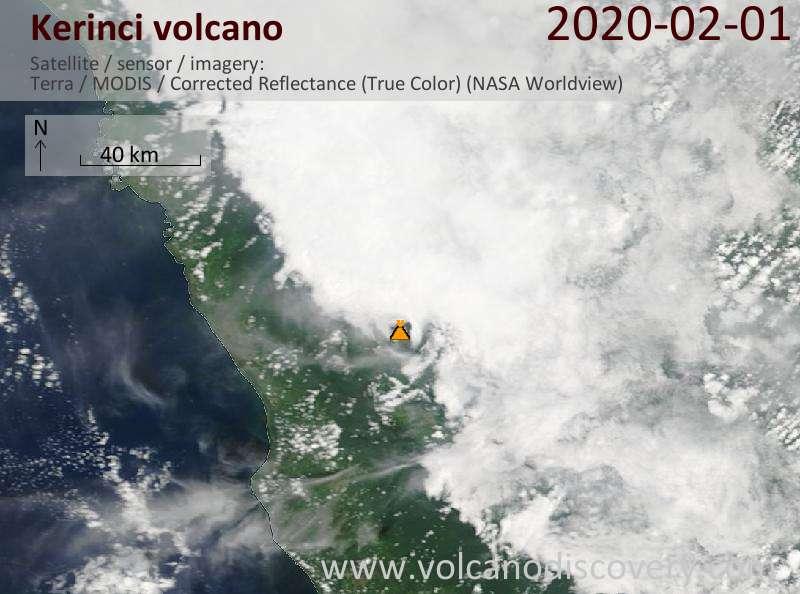 Satellitenbild des Kerinci Vulkans am  1 Feb 2020
