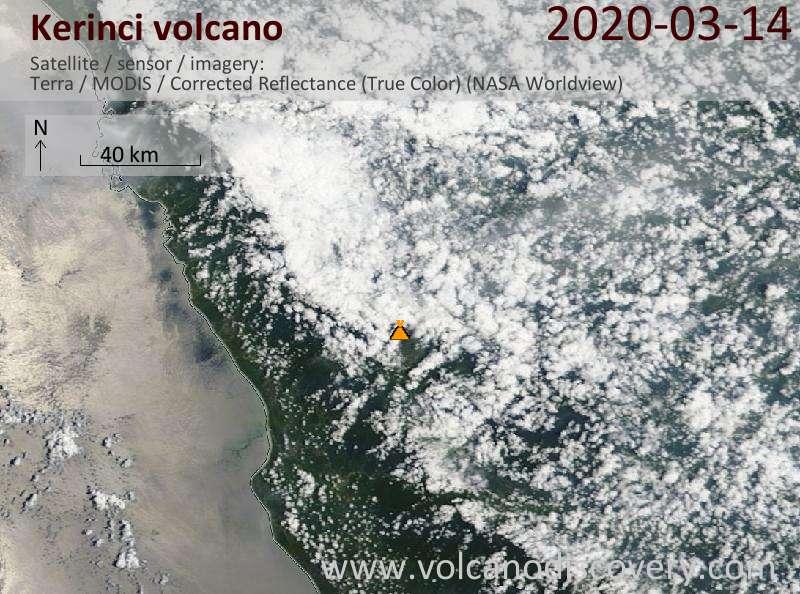 Satellite image of Kerinci volcano on 14 Mar 2020