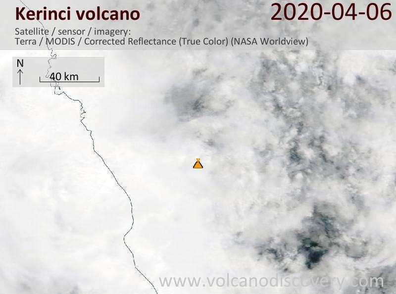 Satellite image of Kerinci volcano on  6 Apr 2020