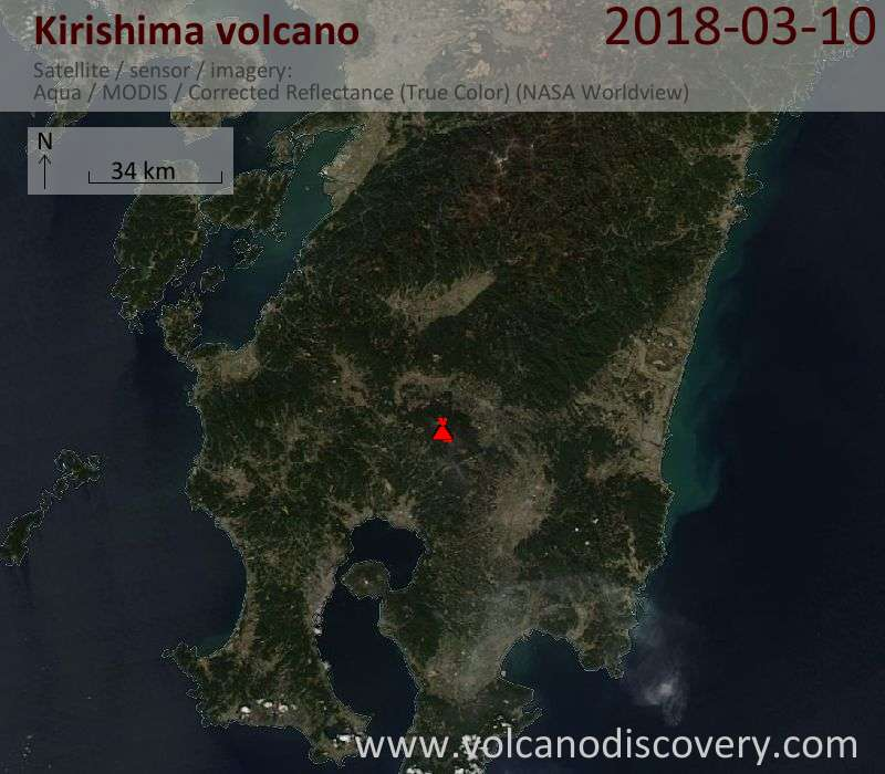 Satellite image of Kirishima volcano on 10 Mar 2018