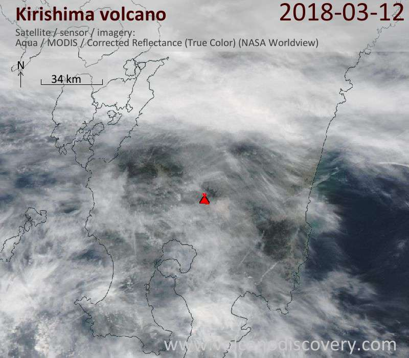 Satellite image of Kirishima volcano on 12 Mar 2018
