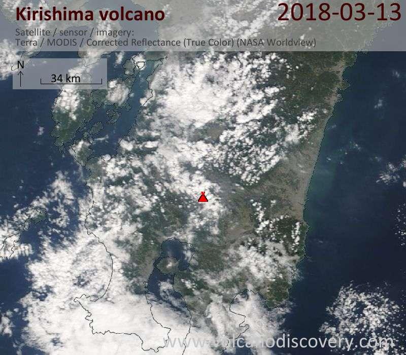 Satellite image of Kirishima volcano on 13 Mar 2018