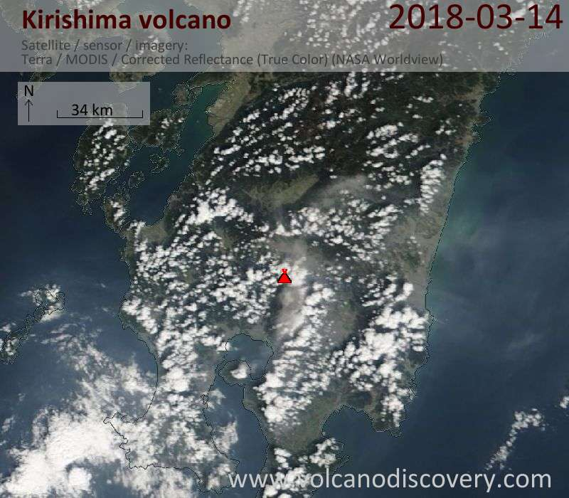 Satellite image of Kirishima volcano on 14 Mar 2018