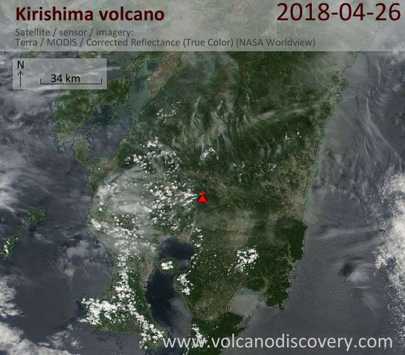 Satellite image of Kirishima volcano on 26 Apr 2018