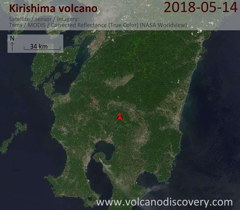 Satellite image of Kirishima volcano on 14 May 2018