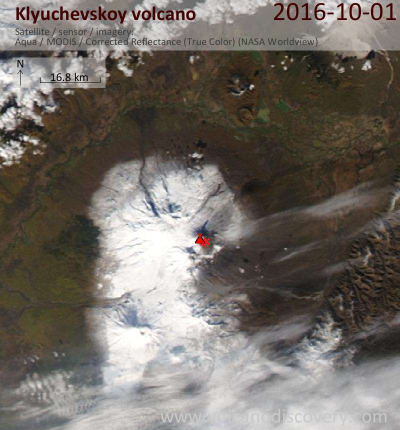 Satellite image of Klyuchevskoy volcano on  1 Oct 2016