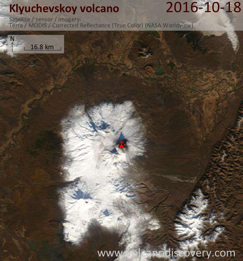 Satellite image of Klyuchevskoy volcano on 18 Oct 2016