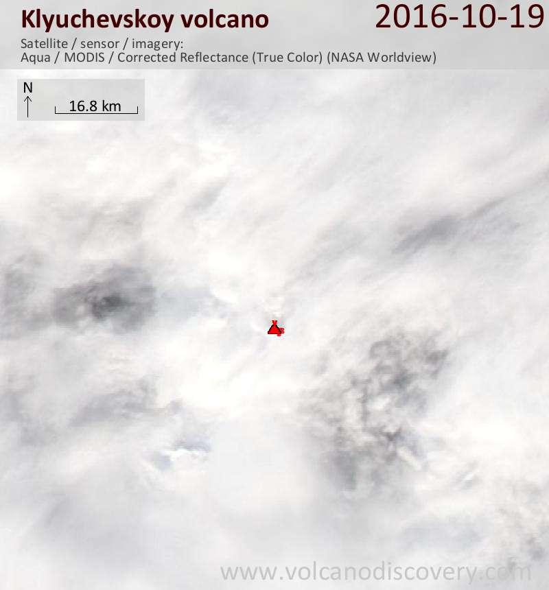 Satellite image of Klyuchevskoy volcano on 19 Oct 2016