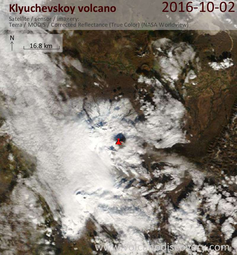 Satellite image of Klyuchevskoy volcano on  2 Oct 2016