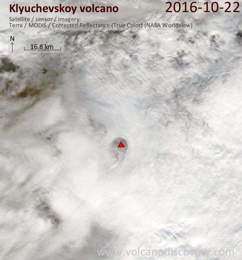 Satellite image of Klyuchevskoy volcano on 22 Oct 2016