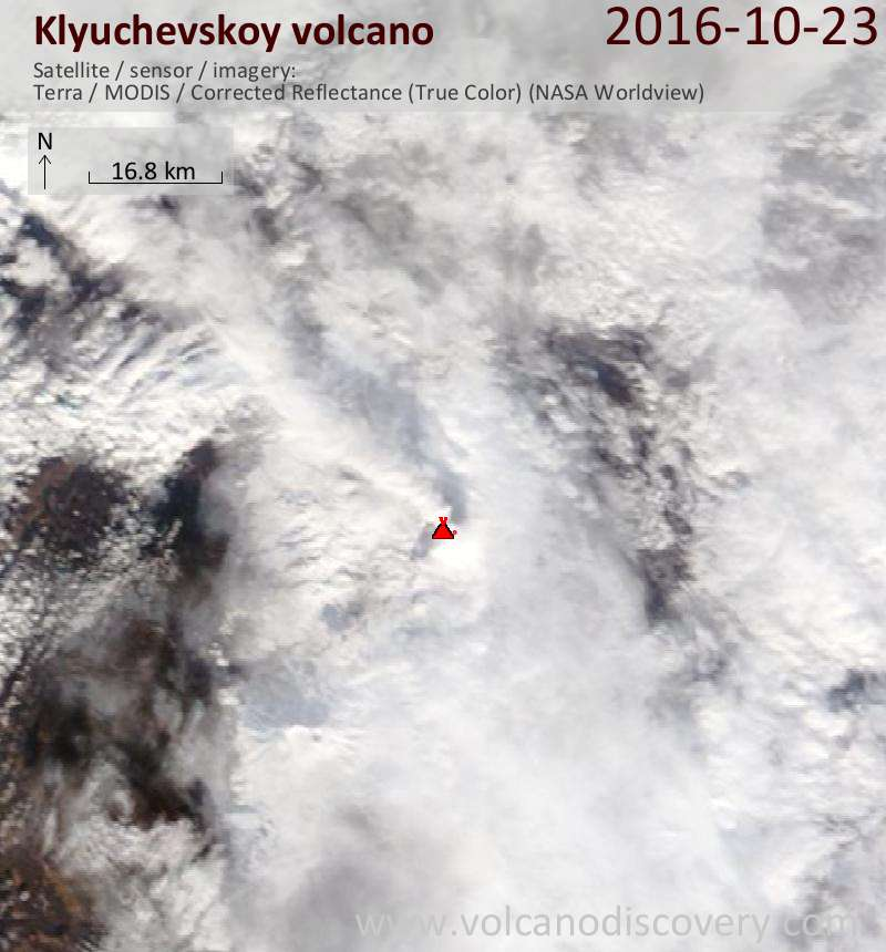 Satellite image of Klyuchevskoy volcano on 23 Oct 2016
