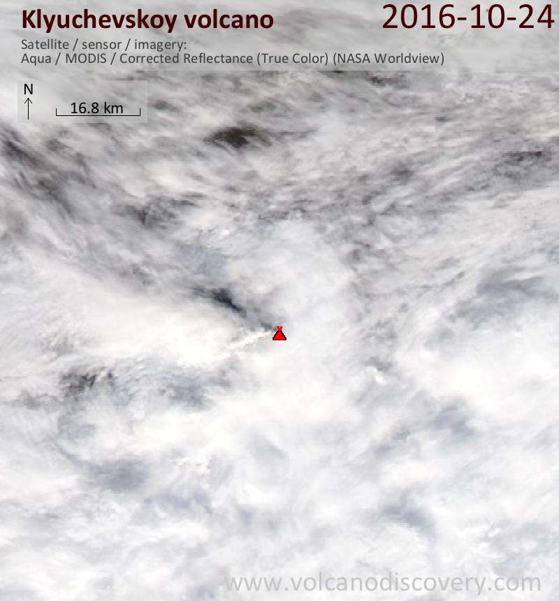 Satellite image of Klyuchevskoy volcano on 25 Oct 2016