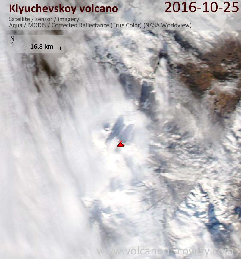 Satellite image of Klyuchevskoy volcano on 26 Oct 2016
