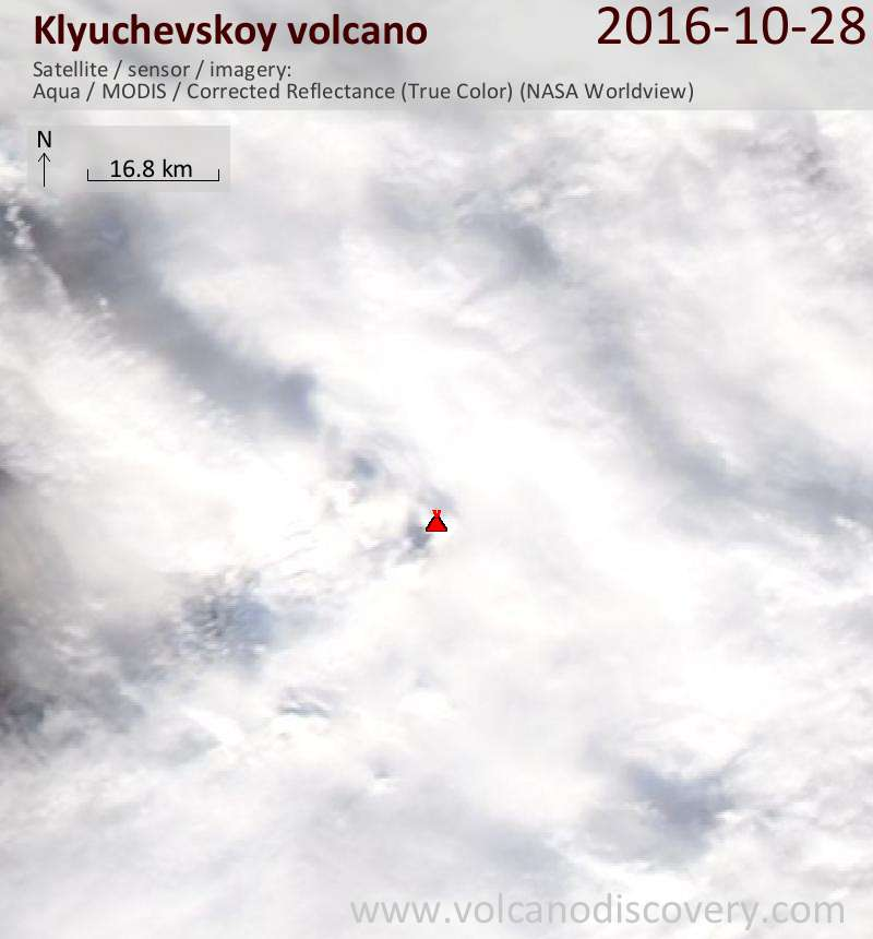 Satellite image of Klyuchevskoy volcano on 28 Oct 2016