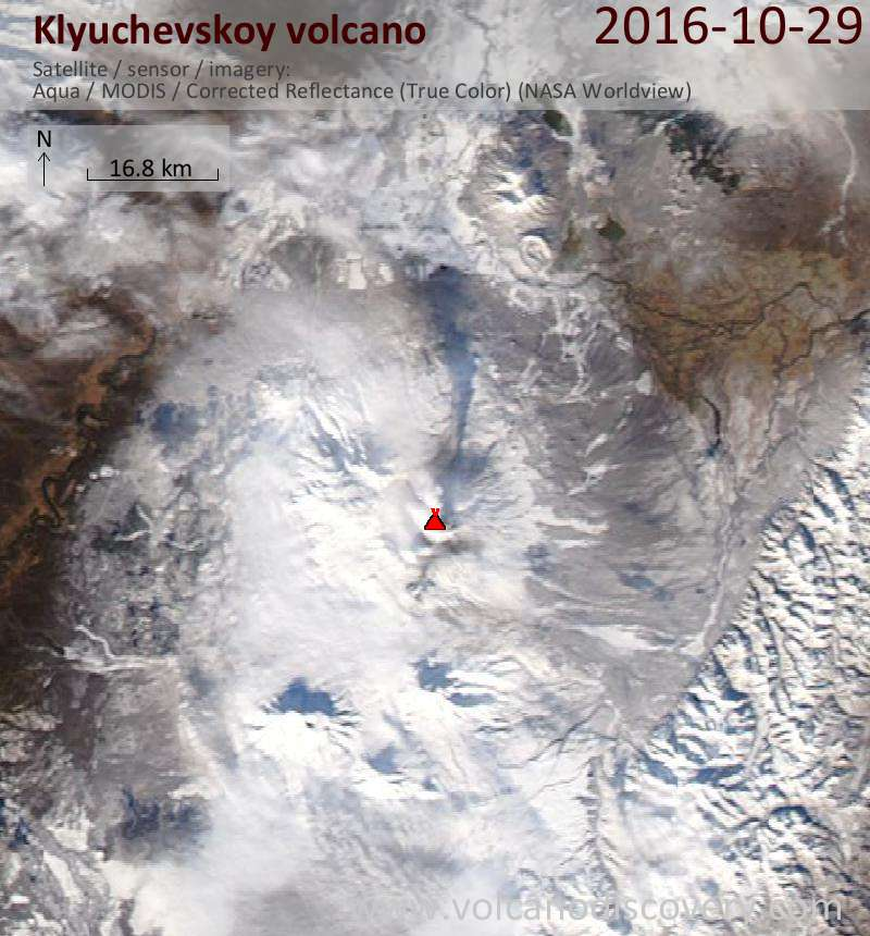 Satellite image of Klyuchevskoy volcano on 29 Oct 2016