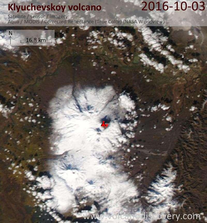 Satellite image of Klyuchevskoy volcano on  3 Oct 2016