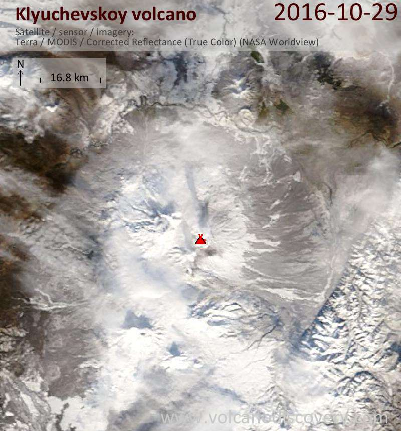 Satellite image of Klyuchevskoy volcano on 30 Oct 2016