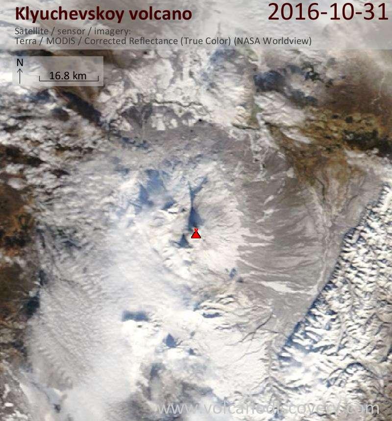 Satellite image of Klyuchevskoy volcano on 31 Oct 2016