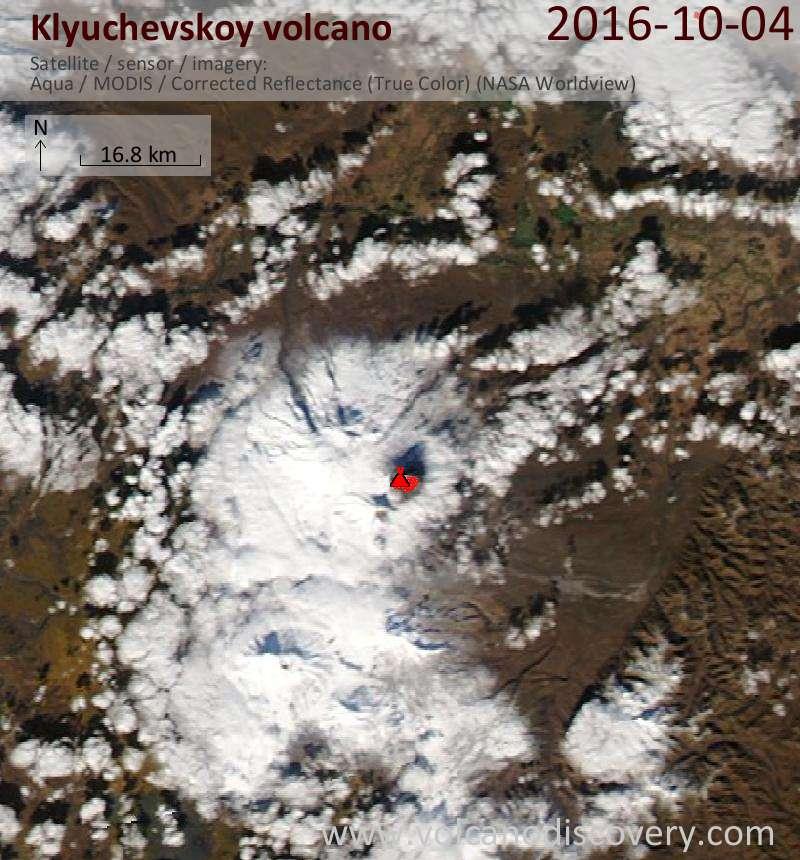 Satellite image of Klyuchevskoy volcano on  4 Oct 2016