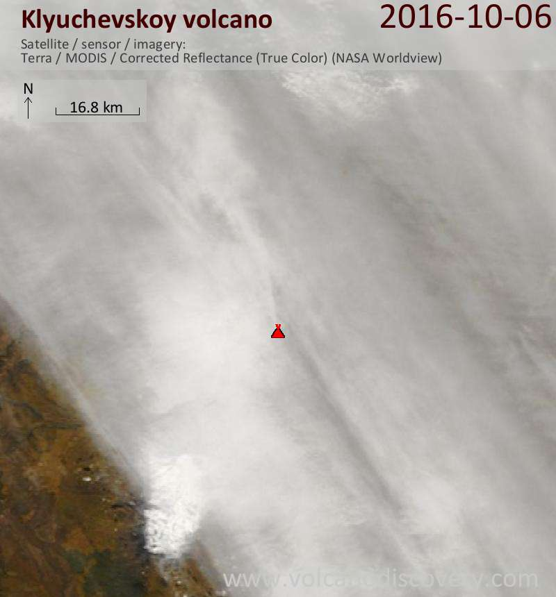 Satellite image of Klyuchevskoy volcano on  6 Oct 2016